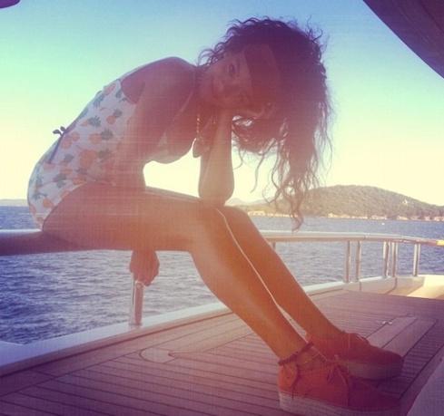 Rihannas-Porto-Cervo-Topshop-Pineapple-Print-Playsuit-and-Klive-Flatform-Espadrilles